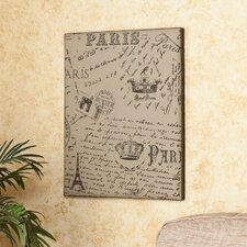 Vasilis Vintage Paris Postcard Burlap Message Board