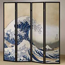 4 Panel Fukusai Wave Shoji Screen Room Divider