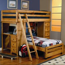 Enchanted Twin over Twin L-Shaped Bunk Bed with Desk and Storage