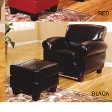 Bycast Leather Chair and Ottoman