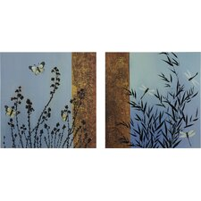Dancing Butterflies Oil Painting Art (Set of 2)