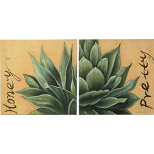 Desert Flower Oil Painting Art (Set of 2)