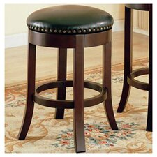 "Perris 24"" Bar Stool with Cushioned Seats and Veneer Back Side in Cherry"