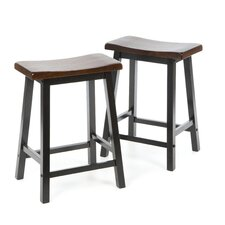 "Aloha 24"" Stool in Oak and Black"