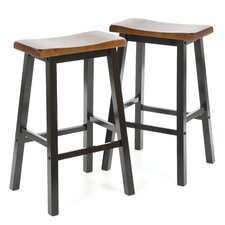 "Aloha 29"" Stool in Oak and Black"