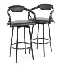 "Pitkin 29"" Bar Stool with Back in Satin Black and Black Vinyl Seat"