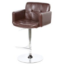 "Colorado City 29"" Tufted Vinyl Barstool with Footrest in Brown"