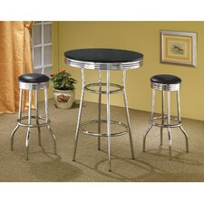 Ridgeway Soda Fountain Bar Table Set in Black (3 Piece Set)
