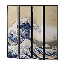"70"" x 68"" Wave Fukusai Shoji 4 Panel Room Divider"