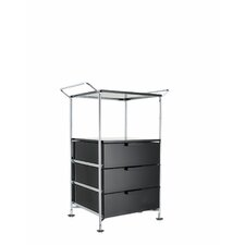 "Mobil 26.38"" (On Wheels) with Handles 3 Drawers with Open Shelf and Feet"