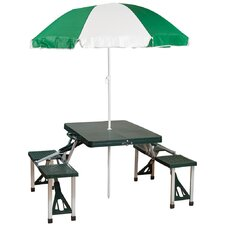 Picnic Table and Umbrella Combo Pack