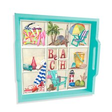 "A Day at the Beach 16"" Square Serving Tray"