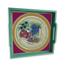 "Seven Species of Israel 16"" Square Serving Tray"
