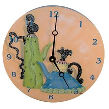 "Home and Garden 10"" Whimsical Teapots Wall Clock"