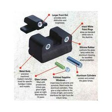 S and W 3 Dot Green Front and Fixed Rear Night Sights for Guns