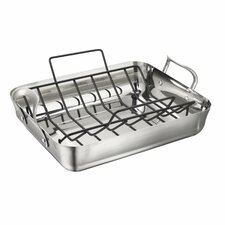 Contemporary Stainless Steel Roaster with Rack