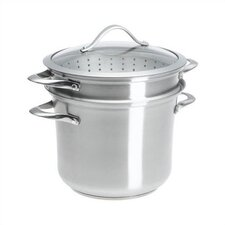 Contemporary Stainless Steel 8 Quart Multi Pot with Steamer, Pasta Insert and Lid