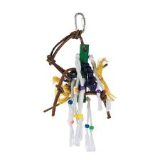 Living World Small Wood Peg with Ropes, Leather Strips with Beads Bird Toy