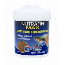 Nutrafin Max Guppy Color Enhancing Flakes Fish Food- 1.06 oz.