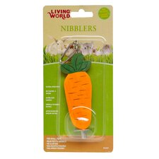 LW Nibblers Wood Carrot on A Stick Small Pet Chew Toy