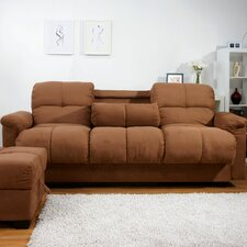 Phila Microsuede Storage Sleeper Sofa and Ottoman Set