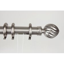 Elite Traverse Fluted-Ball Center Open Curtain Rod and Hardware Set