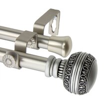 Ornament Steel Double Curtain Rod and Hardware Set