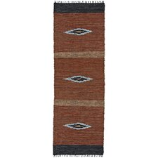 Matador Brown Diamonds Leather Chindi Rug
