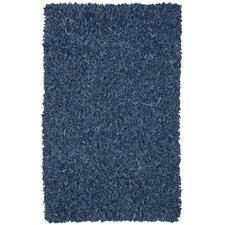 Pelle Leather Shag Blue Rug