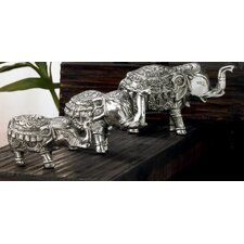 Kindwer 3 Piece Aluminum Elephant Figurine Set
