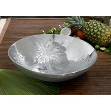 Kindwer Etched Tropical Palm Tree Round Bowl