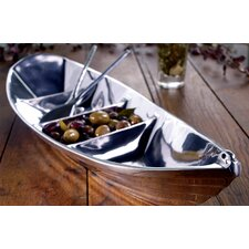 Kindwer Tropical Boat Novelty Serving Tray with 2 Oars as Servers
