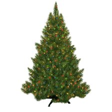 "53"" Green Evergreen Fir Artificial Christmas Tree with 250 Pre-Lit Multicolored Lights"