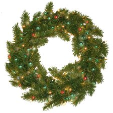 <strong>General Foam Plastics</strong> Prelit Evergreen Fir Wreath with 100 Multi Indoor/Outdoor Lights