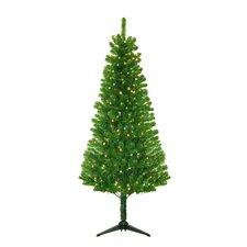 "53"" Green Evergreen Fir Artificial Christmas Tree with 250 Pre-Lit Clear Lights"