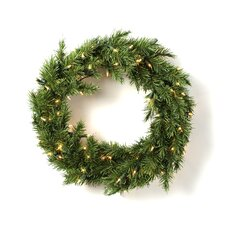 Prelit Evergreen Fir Wreath with 100 Clear Indoor/Outdoor Lights