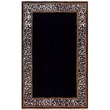 African Safari Animal Skin Border Black/Off White Rug