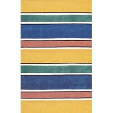 Beach Rug Bright Multi Ocean Stripes Rug