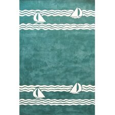 <strong>American Home Rug Co.</strong> Beach Rug Teal Sailboat Novelty Rug