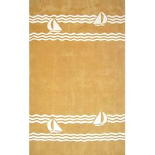 Beach Rug Yellow Sailboat Novelty Rug