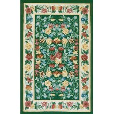 Bucks County Floral Garden Emerald Green/Ivory Rug