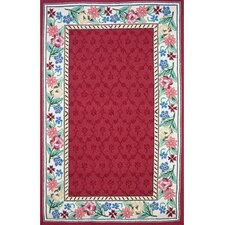 Bucks County Burgundy/Ivory Damask Rug