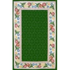 Bucks County Emerald Green/Ivory Damask Rug