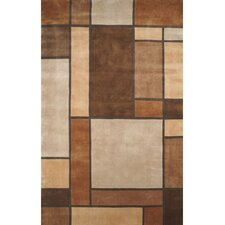 Casual Contemporary Beige/Brown Metro Rug