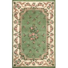 Floral Garden Aubusson Light Green/Ivory Area Rug