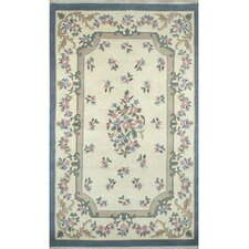 French Country Aubusson Ivory/Blue Floral Rug