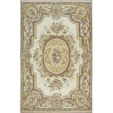 French Elegance Ivory Aubusson Rug