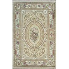 French Elegance Beige/Ivory Aubusson Floral Area Rug