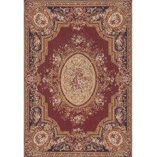 Grandeur Burgundy/Emerald Needlepoint Aubusson Rug/Tapestry