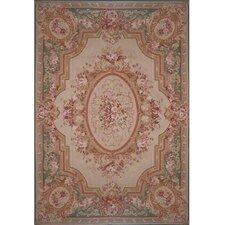 Grandeur Beige/Teal Needlepoint Aubusson Rug/Tapestry